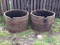 Oak whisky barrel Planters £30 each or £50 a pair includes free local delivery