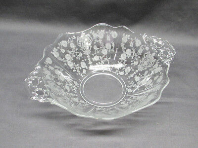 Cambridge Rose Point Handled Serving Bowl Clear Glass