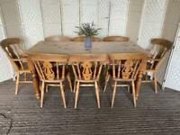 Large 6x3ft vintage pine farmhouse dining table and 8 country chairs rustic
