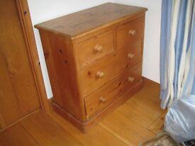 Antique Pine Chest of Drawers-good condition 88cm H x 89cm W x470cm deep