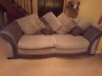 Matching settee and single chair with footstool