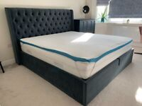 Super King Deacon Upholstered Ottoman Bed (+mattress & topper) for sale (like new)