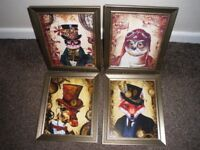 4 NEW PRINTS IN GLASS BRONZE/GOLD GLASS FRAMES.STEAMPUNK STYLE 12inch by 10inch FRAMES