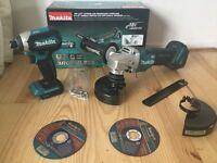 New Makita 18v brushless grinder dga455 + BL impact dtd153.Paddle-switch dga455z+dtd153z. Bare tools