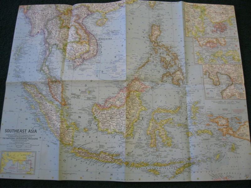 1961 SOUTHEAST ASIA NATIONAL GEOGRAPHIC MAP
