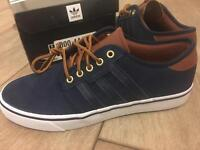 Adidas suede navy trainers. Men's size 7. New in original box.