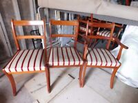 6 Yew Repropduction Dining Chairs with striped seats Ideal to up cycle