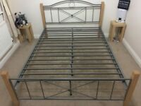 DFS Metal and Wood Double Bedstead in excellent condition