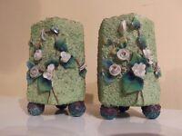 Exquisite Pair Of Antique Victorain Vibrant Hand paint Flower Sand Vases c1800s