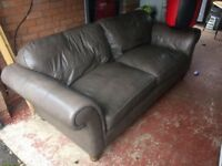 Grey leather sofa