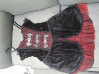 Women's goth black and red velvet thigh length dress with zip fastening on back, size 14-16