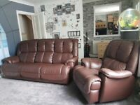 Harveys Recliner sofa and Recliner, rocker, swivel chair brown leather, great condition £400 ono