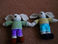 New 2 Hand Knitted Rabbits with Floppy Ears