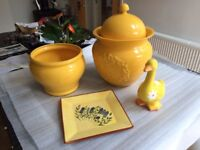 A selection of yellow pottery