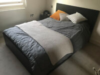 IKEA Malm black-brown double bed with mattress and drawers