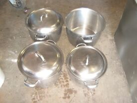 4 x stainless steel induction stock pots