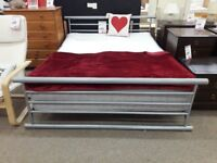 Grey King Size Metal Frame and Tranquility Mattress