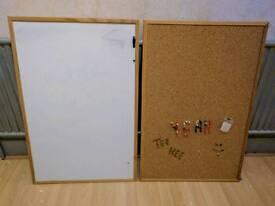 Cork board and white board