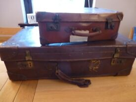 2 x Vintage Leather Suitcases