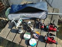 Job lot fishing reels and fishing line