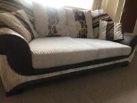 Chunky Comfy Chocolate & Beige 3 Seat Sofa
