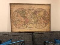 Vintage world map canvas