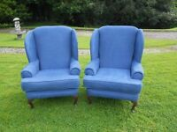 2 Stunning Deep Wing-Back Armchairs