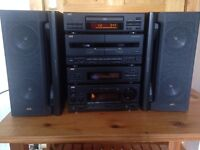 JVC Stereo System, consisting of Amp, Toner, CD,Double Tape Deck & Speakers