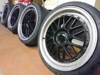 "18"" bbs LM style alloy wheels 4x100 Honda civic vauxhall astra corsa Bmw mini Mx5 Renault Clio Mg"