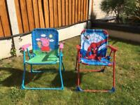 Two kids fold up garden chairs
