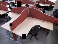 Maple effect 4-person Desk Cluster, comprising 4 desks 1600mm x 1600mm, 4 floor standing partitions,