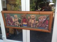 "LARGE 1980'S TEDDY BEAR TOY MUSICIANS PICTURE BY H.R. SANDERS 22"" X 53"""