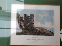 Engraved prints over 100 years old of Hadleigh castle and Southend terrace.