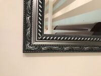 Large Mirror with black and silver frame