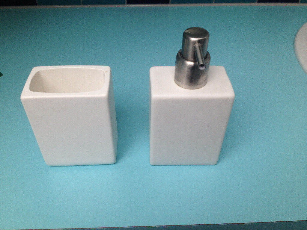 White Habitat liquid soap dispenser and bathroom tidy. | in ...