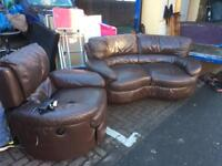 Lovel brown leather sofa for sale with recliner