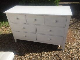 White painted chest of drawers, oak