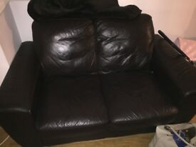 Brown 2 seater leather sofa good condition need gone asap make me an offer