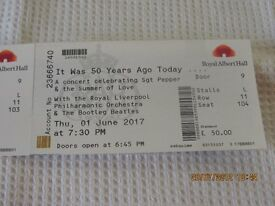 x 2 Tickets for Beetles Sgt. Pepper's 50th Anniversary Tribute Concert at the Royal Albert Hall
