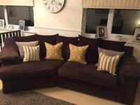 Brown suede sofa and swing chair