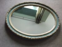 wall mirror green and gold (oval antique effect)