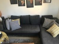 Dwell Right-hand corner sofa in charcoal