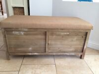 Fisherman Wood and Jute ottoman for sale!