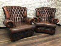 Pair of Antique Tan Brown Chesterfield Spoon Chairs