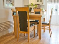 Solid Oak Dining Table and Four Matching Chairs, Very Good Condition
