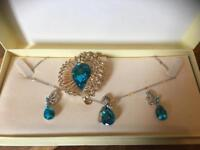Brand new lady's sapphire necklace silver chain earrings and matching brooch