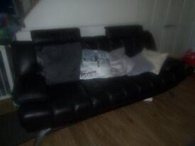 Stylish Black Leather Sofas (3 and 2) - Beautiful