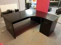 Black office corner desk with lockable drawers