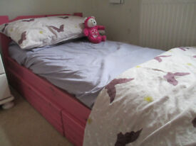 STILL AVAILABLE 01.10.17 Pink wooden airsprung junior bed with under bed drawers