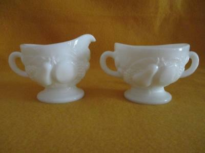 2 Piece Set Milk Glass Creamer & Sugar Set Fruit Pattern Pear/Peach/Grapes EUC